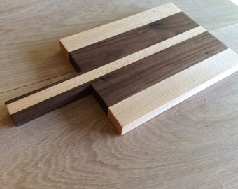 Small Wood Cutting Board with Handle ~ Maple and Walnut