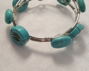 Turquoise Stone Bangles - Wire Wrapped Turquoise Bangle - Bangle Set - Women's Bangles - Turquoise Bangles - Wire Wrap Bangle - Turquoise