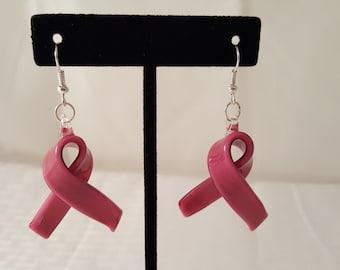 Blown Glass Pink Ribbon Earrings - Pink Ribbon Earrings - Pink Awareness Earrings - Blown Glass Earrings - Pink Earrings - Pink Glass Ribbon