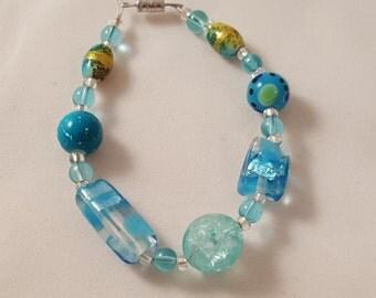 Spring Time In Blue - Glass Bead Bracelet - Blue Bracelet - Women's Bracelet - Women's Blue Jewelry - Women's Blue Bracelet - Blue Jewelry