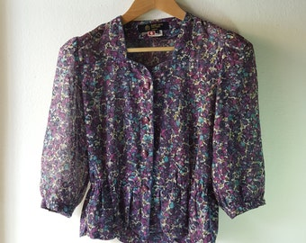 Vintage 60s Rare Hardy Amies  Boutique London, Floral Blouse, Gifts for her