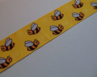 "Bumble Bee Flying Grosgrain Ribbon 1"" 25mm"