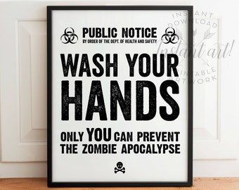 Zombie Bathroom Signs bathroom printable signs for washing hands pictures to pin on