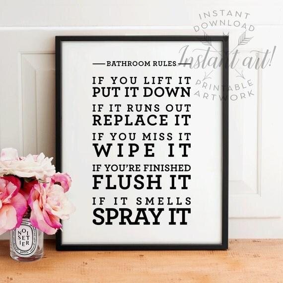 Bathroom Art Flush Toilet: Bathroom Rules PRINTABLE Artbathroom Wall Decorbathroom