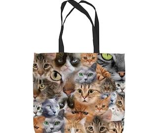 Cats All Over Design Tote Bag Shopping Bag Beach Bag School Bag