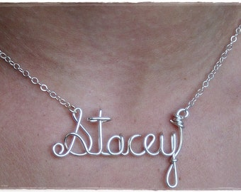 Stacey Wire Word Name Pendant Necklace