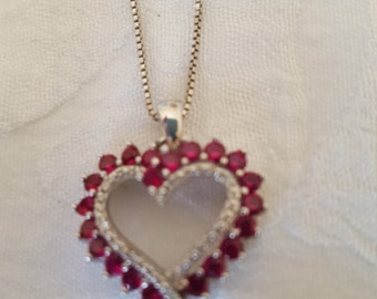 1/5 CT. TW.Heart Shaped Genuine Ruby Pendant in Sterling Silver, Stamped SUN 925