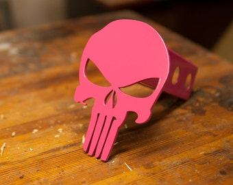 Punisher Trailer Hitch Cover - Steel - Pink - Breast Cancer Awareness