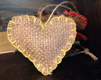 Recycled Burlap Hearts for a Cause