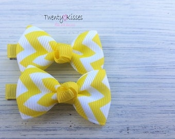 Tiny hair clips,small hair clips,Baby,toddler,kids hair accessory,baby hair clips,yellow hair bows,chevron hair clips,hair clips baby girl