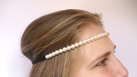 Bridesmaid gift Bridesmaid Headband Headband Pearl Strand Pearl  Headband Pearl Ivory Pearl Headband Bridal Headband Pearl