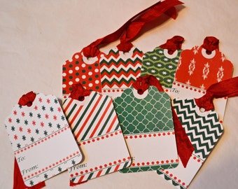 Gift Tags Set of 8 With Ribbon Color Choice