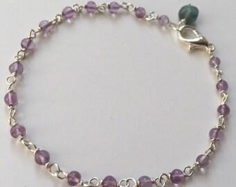 AMETHYST BRACELET- Sterling Silver Skinny Gemstone Bead Bracelet - Semiprecious Birthstone Stackable Bracelet