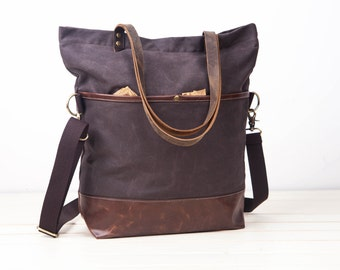 gray waxed canvas tote,Convertible Tote, Canvas Base Cotton Adjustable Strap - Leather Handles/Canvas and Leather Tote/Waterproof bag