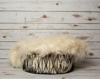 Girl or Boy Themed Newborn Photography Digital Backdrop - Wire Basket with Fur and Whitewashed Wood