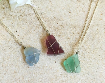Dainty Wire Wrapped Sea Glass Necklace, Sea Glass Necklace, Sea Glass Jewelry