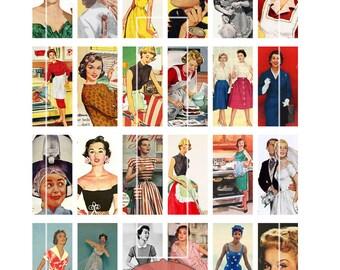 "Domino Clip Art, Vintage Women, 1950s women, Digital Collage Sheet, Jewelry Making, 1""x2"", Digital Downloads, domino tiles, Jewellery"