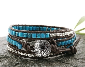 Silver Button Leather Wrap Bracelet with Turquoise  Beads and Silver beads
