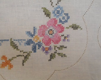 Vintage Pure Linen Embroidered Panel to Edge/Embroider