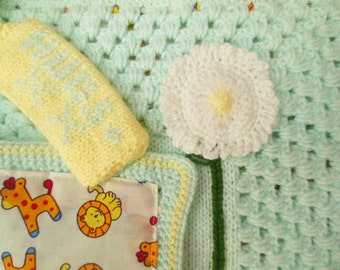 Personalised Crochet Baby Lovey, Comforter, Security Blanket Girl Monogram Baby Accessory Unique Baby Gift Turquoise and Lemon