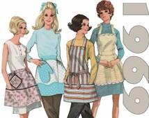 "Vintage Apron Pattern Half Apron Bib Apron McCALLS 9694 sz M 34-36"" 1960s Apron With Potholder Pattern Cobbler Apron Skirt Apron Craft Apron"