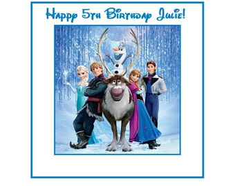 18 PERSONALIZED Printed  Frozen goody treat favor bag Labels, Birthday Stickers, Custom Made