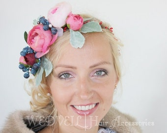 Flower Hair Wreath for Wedding, with Berries