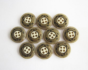 10 small steampunk buttons with metal inlay, 15 mm, unused sewing buttons!!