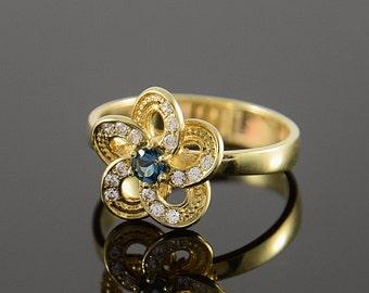 Topaz ring, Multistone ring, Flower ring, Blue topaz ring, Halo ring, Sparkly ring, Fine ring, Topaz ring gold, Halo topaz ring