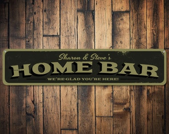 Bar Sign, Personalized Home Bar We're Glad You're Here Sign, Custom Bar Name Sign, Metal Beer Sign, Bar Decor - Quality Aluminum ENS1001276