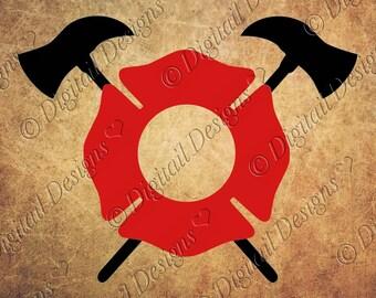 Firefighter Monogram Frame svg, png, dxf, ai, fcm, eps Cut File for Silhouette or Cricut. Fireman monogram frame