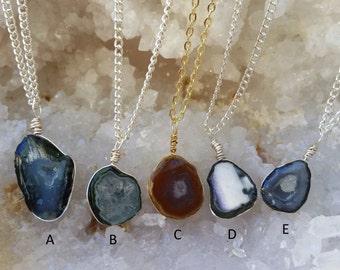 Tiny Geode Necklaces