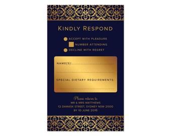 Digital RSVP Response Cards   Navy & Gold Damask   Wedding Invitation Stationery Set Suite   DIY Printing