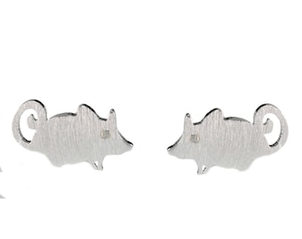 Super Cute Little Mouse Stud Earrings in Sterling Silver with CZ Crystals