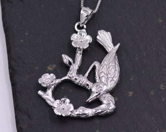 Sterling Silver Bird Among Cherry Blossoms on Branches - Spring is Here - Pendant Necklace 20''  z50
