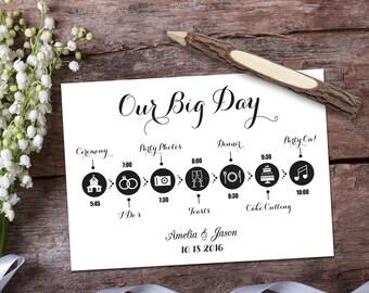 Wedding timeline template card. Digital printable wedding timeline card design. Fully editable Photoshop PSD file 5x7 inch.