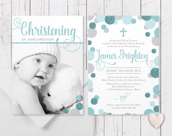 Aqua Teal Blue Christening Photo Baptism Invitation for Boy | Glitter Dots | Printed On Luxe Cardstock | Double Sided | Peach Perfect