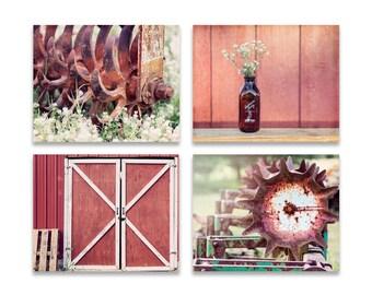 Farmhouse Prints, SET Of FOUR, Farmhouse Canvas Set Of Four, Brick Red Print