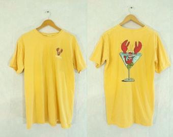 35%offJuly17-20 mens lobster t-shirt size medium, rehoboth beach, delaware, yellow t shirt, beach alcohol martini shirt, mens shirt, cotton