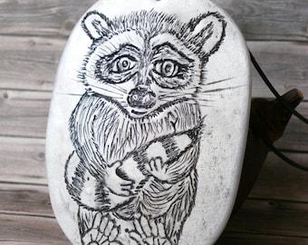 Cute Raccoon Charm Necklace, Racoon Pendant with Leather Cord, Comic Style Jewellery, Cartoon Friends, Anima, Predator, Pet Jewelry