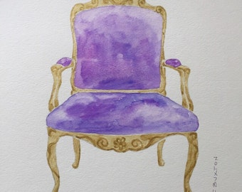 French chair original watercolor©, gift under 100, chair painting, french chair, french chair painting, painting of  chair