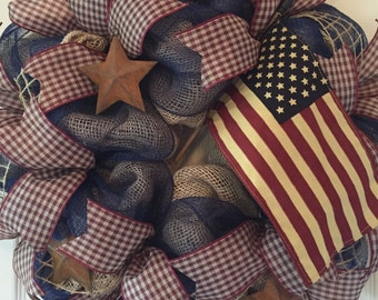 Americana Wreath; Patriotic Wreath; Rustic Wreath; Summer Wreath; Front Door Wreath; 4th of July Wreath; Fourth of July Wreath; Burlap Decor