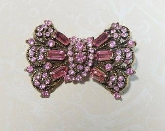 Vintage Hollycraft 1955 Signed Pink Rhinestone Bow Brooch Pin