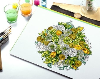Yellow Roses & Succulents - MOUNTED, Fine Art Print