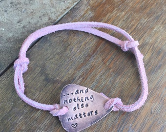 """And Nothing Else Matters - Heart - Antique Distressed Copper Guitar Pick Hand Stamped Bracelet Natural Pink Leather Cord Adjustable 6"""""""
