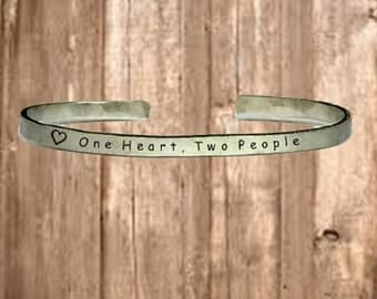 "One Heart Two People - Cuff Bracelet Jewelry Hand Stamped 1/4"" Organic, Smooth Texture Copper Brass or Aluminum"