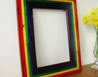 Picture frame in colours of the rainbow.