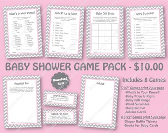 Pink Gray Baby Shower Game Pack - 70% OFF -PRINTABLE Girl Shower Games- 8 Pack - L Gray Pastel Pink Chevron Party Decor Diaper Raffle 22-20