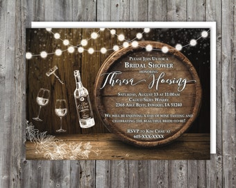 Printable Wine Tasting Bridal Shower Invitations, Rustic theme, Wine theme bridal shower, wine shower invitation, bridal shower invitation