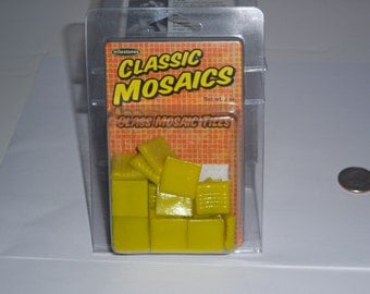 "Classic Mosaic Glass Tiles, 1"" square, 3oz, yellow"